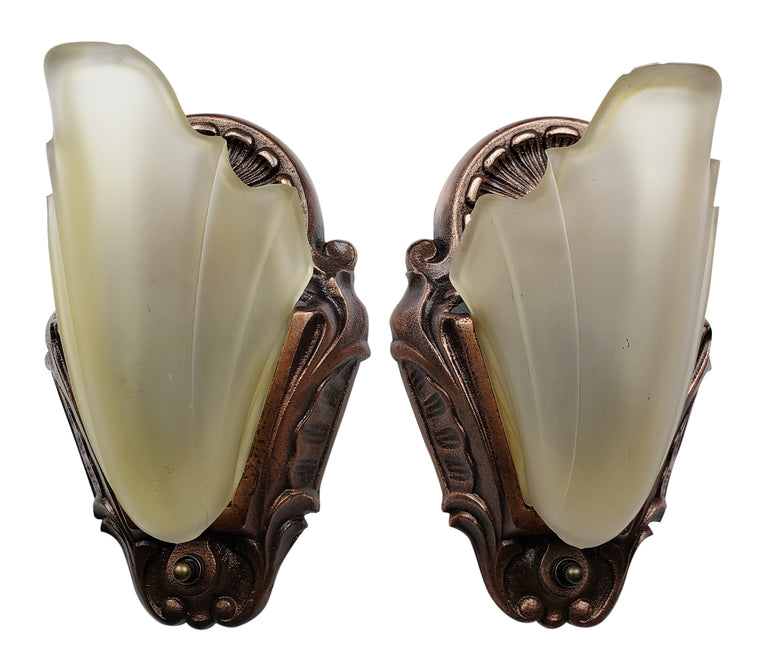 Pair of Art Deco Slip Shade Shell Wall Sconces by Electrolier
