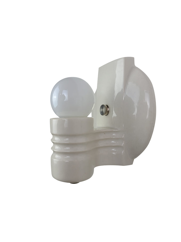 1 of 2 - Pair of Art Deco Streamline Porcelain Wall Sconces