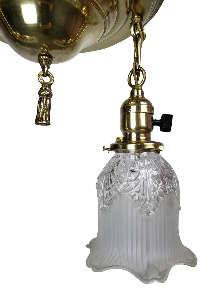 Edwardian 2 Lights Aladdin Pan Fixture with Frosted & Clear Glass Shades