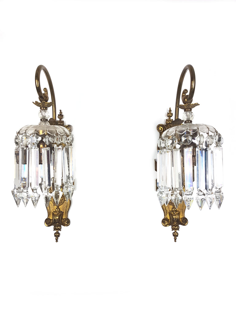 Pair of Large French Bronze & Crystal Wall Sconces - Historical Lights
