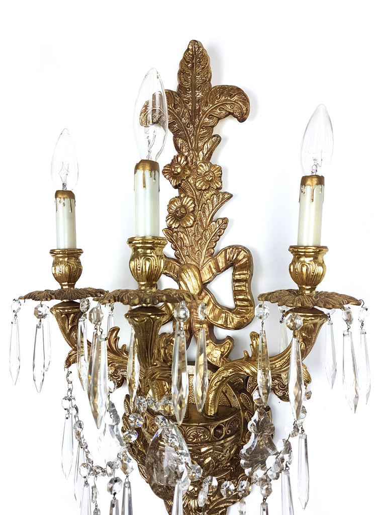 Pair of Massive Louis XV style Wall Sconces with Crystal - Historical Lights