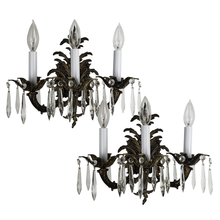 Pair of European Crystal Wall Sconces