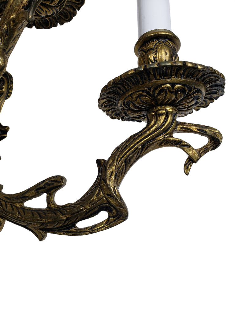 Pair of European 2-Tier Brass Wall Sconces