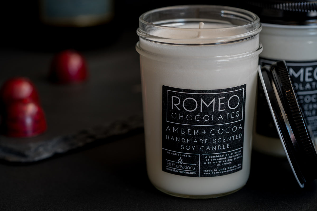 Amber + Cocoa Scented Soy Candle - Tall