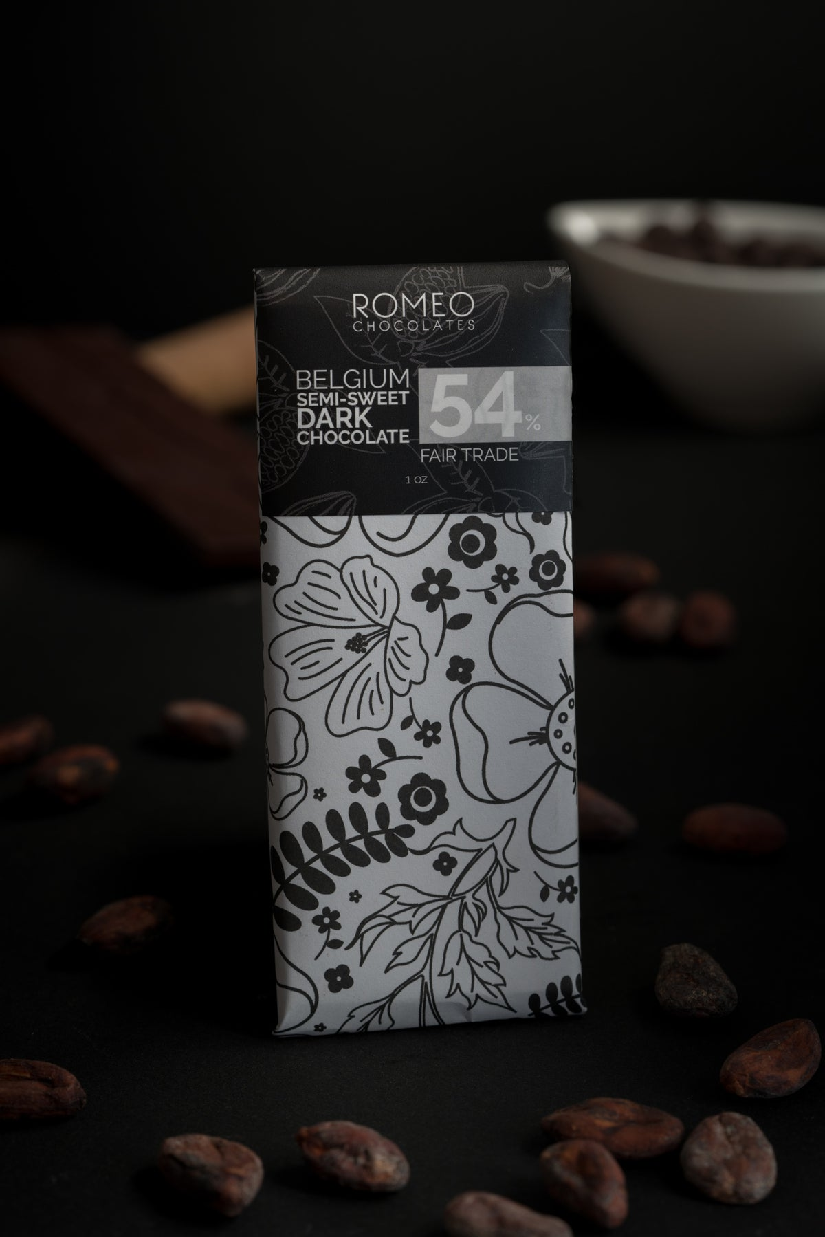 Solid Dark Chocolate Bar - 54% Belgian Dark Chocolate 1oz