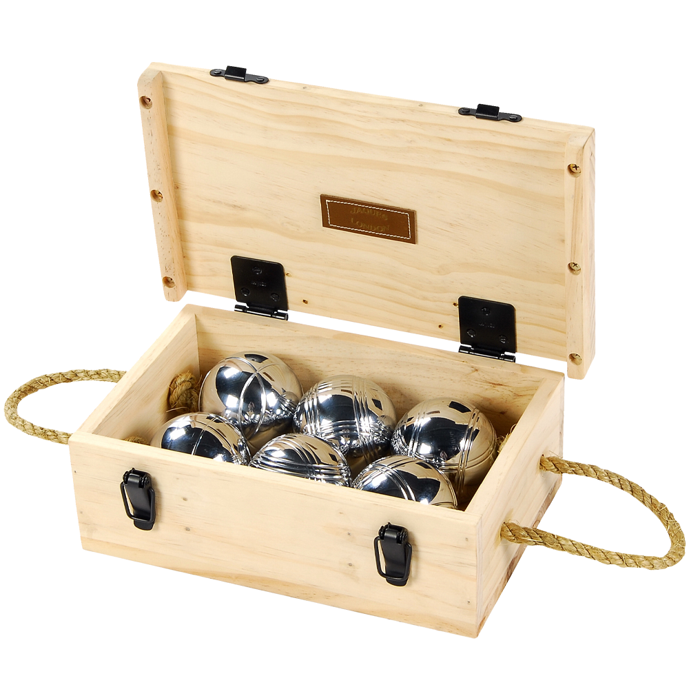 Boules 6 Set - Luxury 6 Boule Wooden Box Set - Chrome Steel