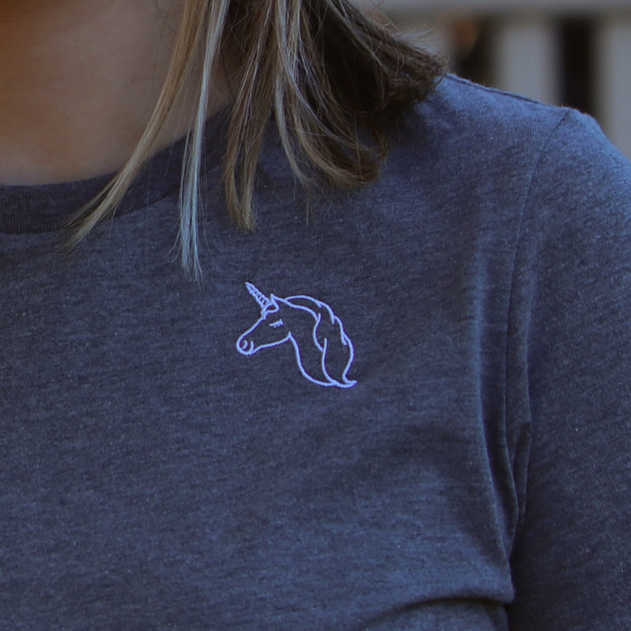 Embroidered Unicorn Tee - Heather Gray