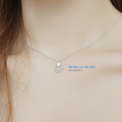 Soo & Soo Pentagon Cubic Pendant Chain Necklace
