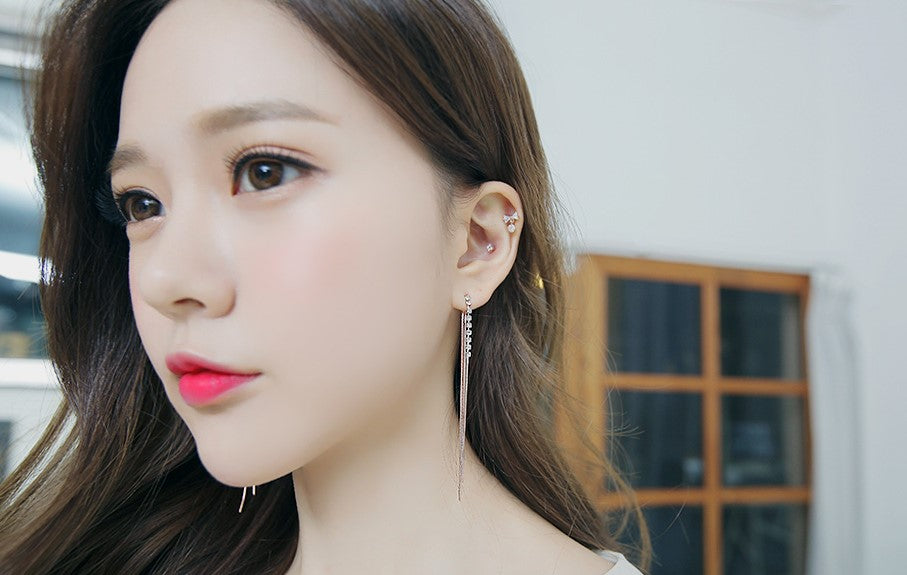 Soo & Soo Slim Line Drop Clip-On Earrings