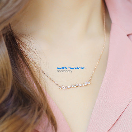 Soo & Soo Horizontal Cubic Cluster Pendant Chain Necklace