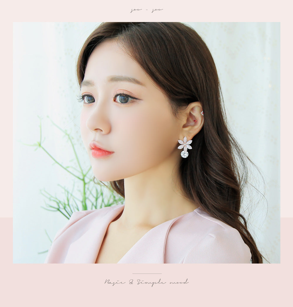 Soo & Soo Baby Pink Flower Cubic Earrings