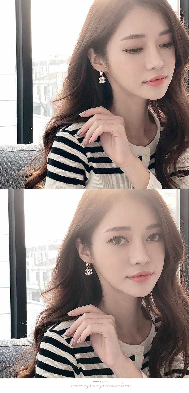 Soo & Soo Romantic Double C Drop Earrings