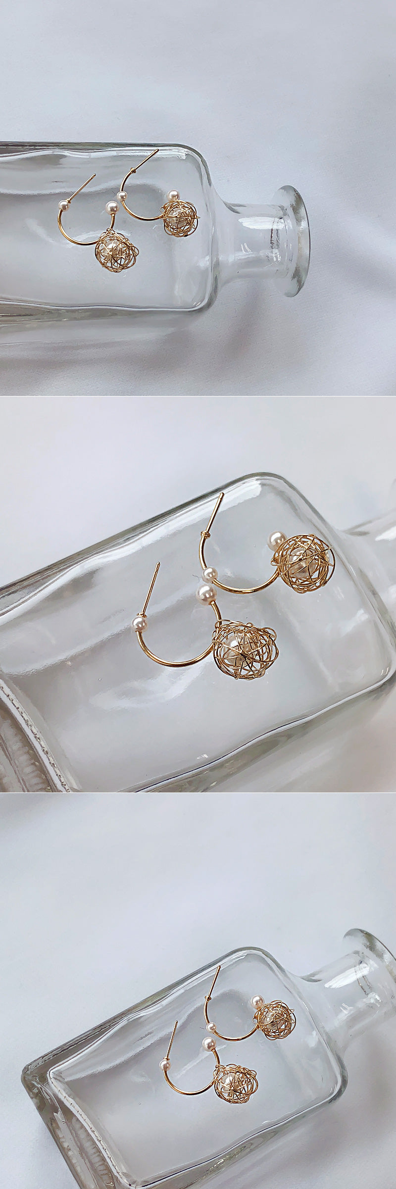 Soo & Soo Curved Ring Pearl Earrings