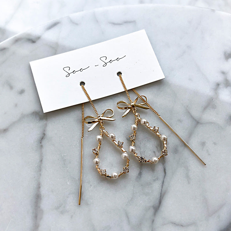 Soo & Soo Ribbon and Teardrop Earrings