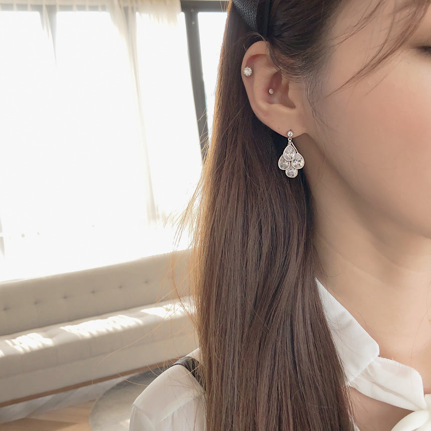 Soo & Soo Tiered Crystal Teardrop Earrings