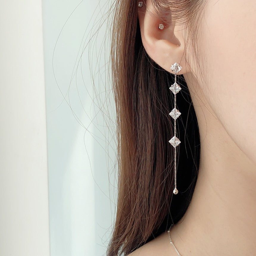 Soo & Soo Cubic Inline Drop Earrings