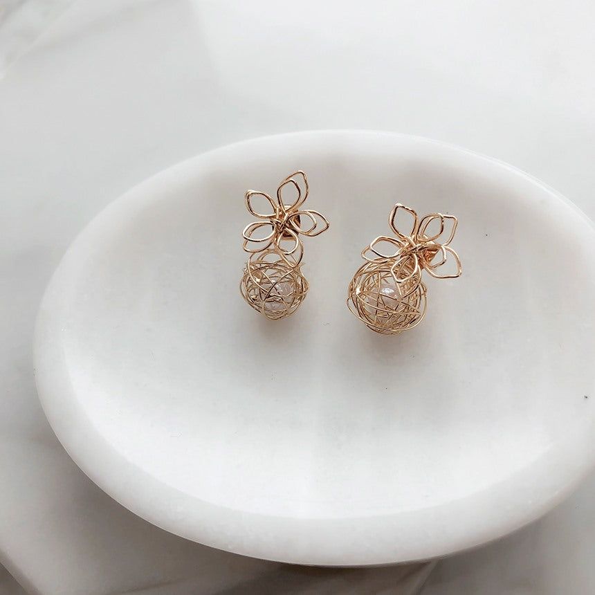 Soo & Soo Pearl Flower Jacket Earrings