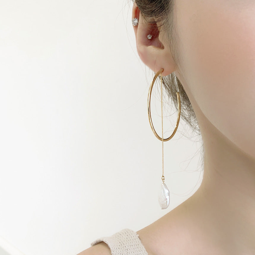 Soo & Soo Open Hoop Pearl Accent Mismatched Earrings