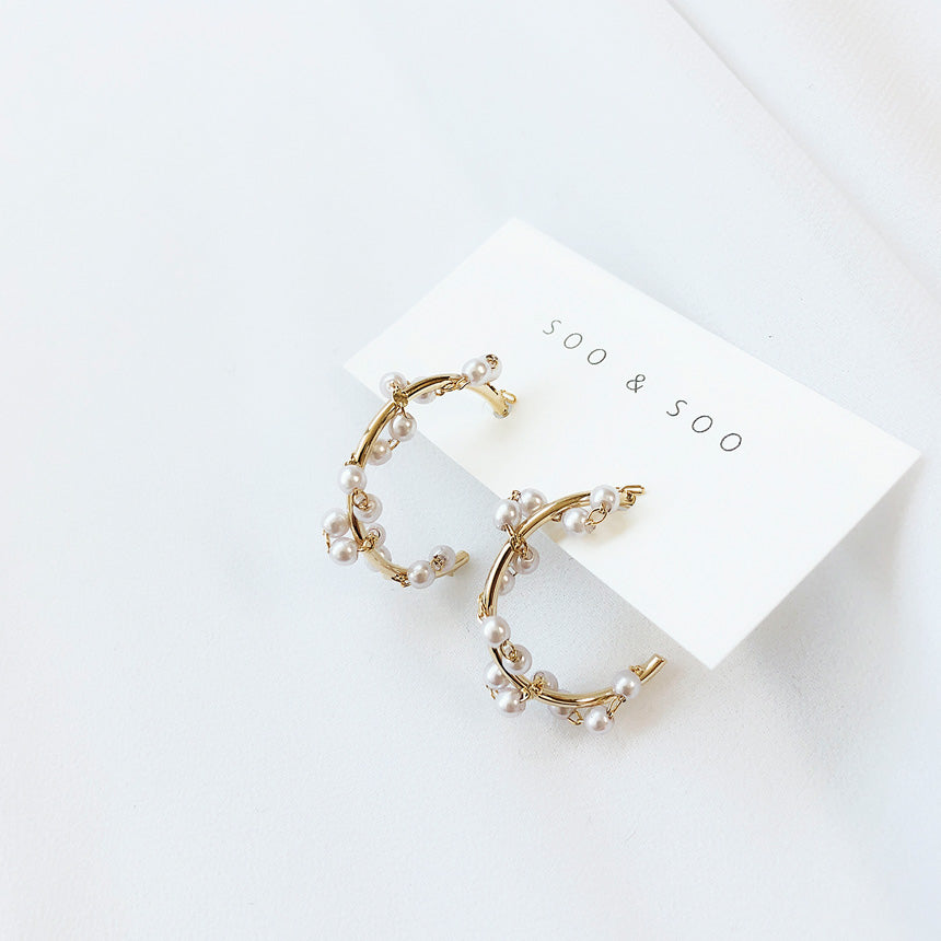 Soo & Soo Mini Pearl Loop Earrings