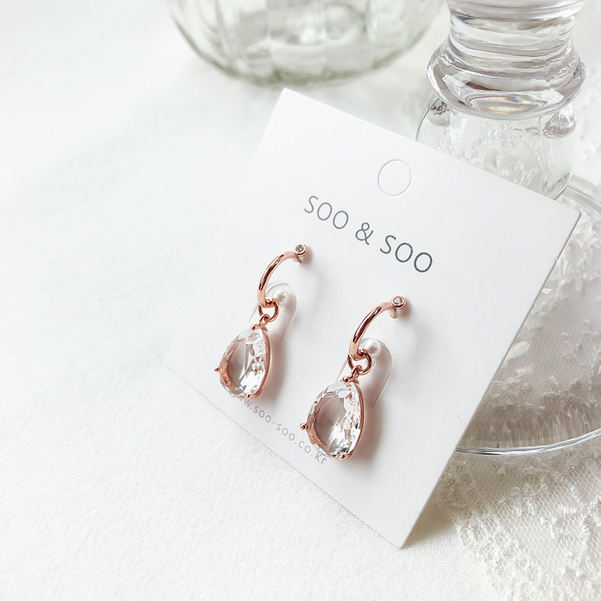 Soo & Soo Open Loop Teardrop Crystal Earrings