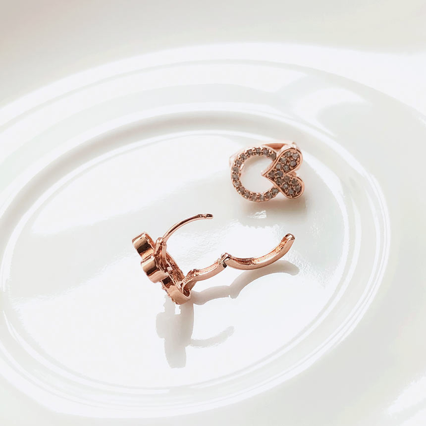 Soo & Soo Heart Huggie Earrings