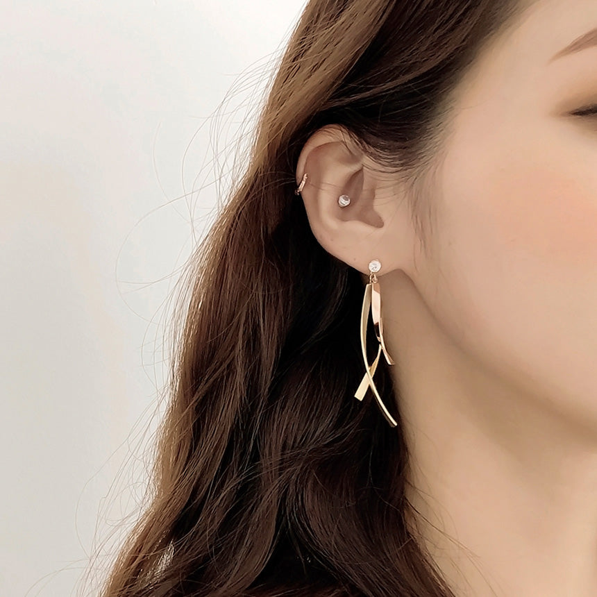 Soo & Soo Wavy Triple Bar Earrings