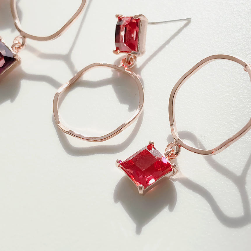 Soo & Soo Square Crystal Mismatched Earrings