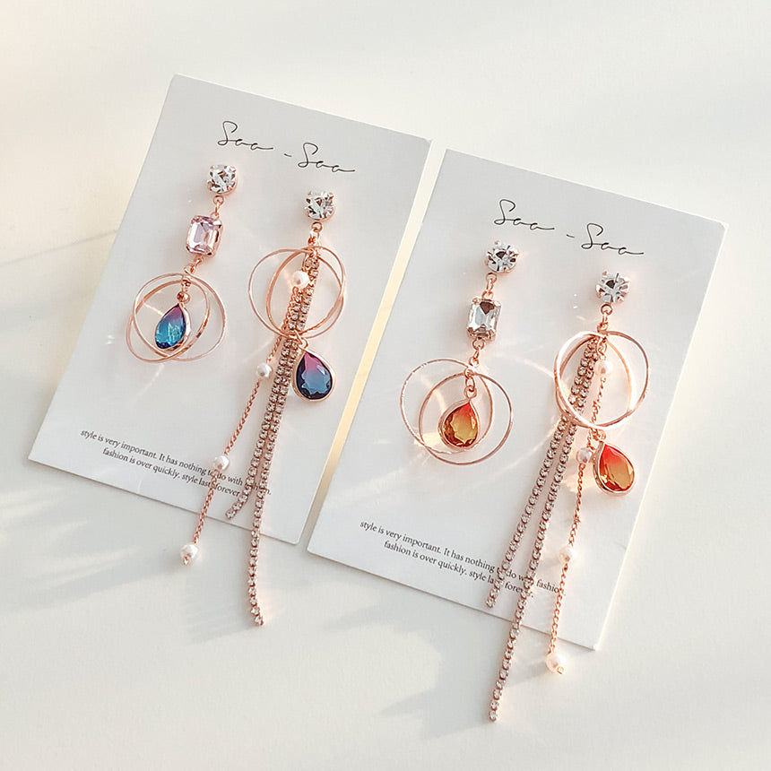 Soo & Soo Celine Circle Mismatched Earrings