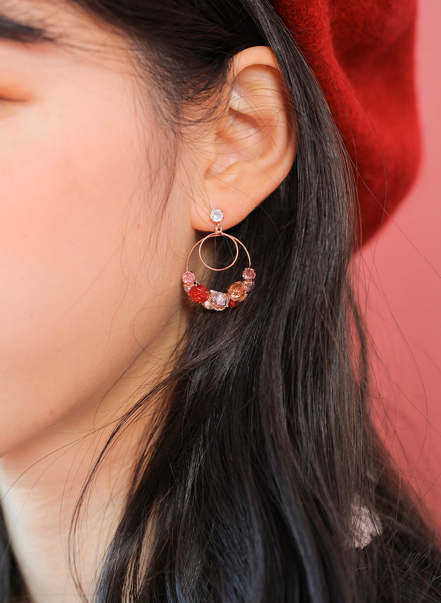 Soo & Soo Crystal Circle Drop Earrings