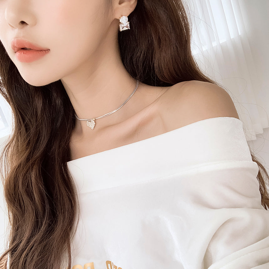 Soo & Soo Cubic Heart Double Snake Chain Necklace