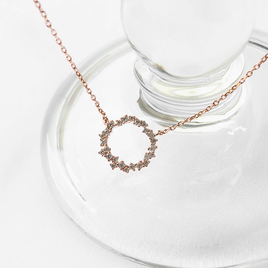 Soo & Soo Dazzling Circle Pendant Chain Necklace