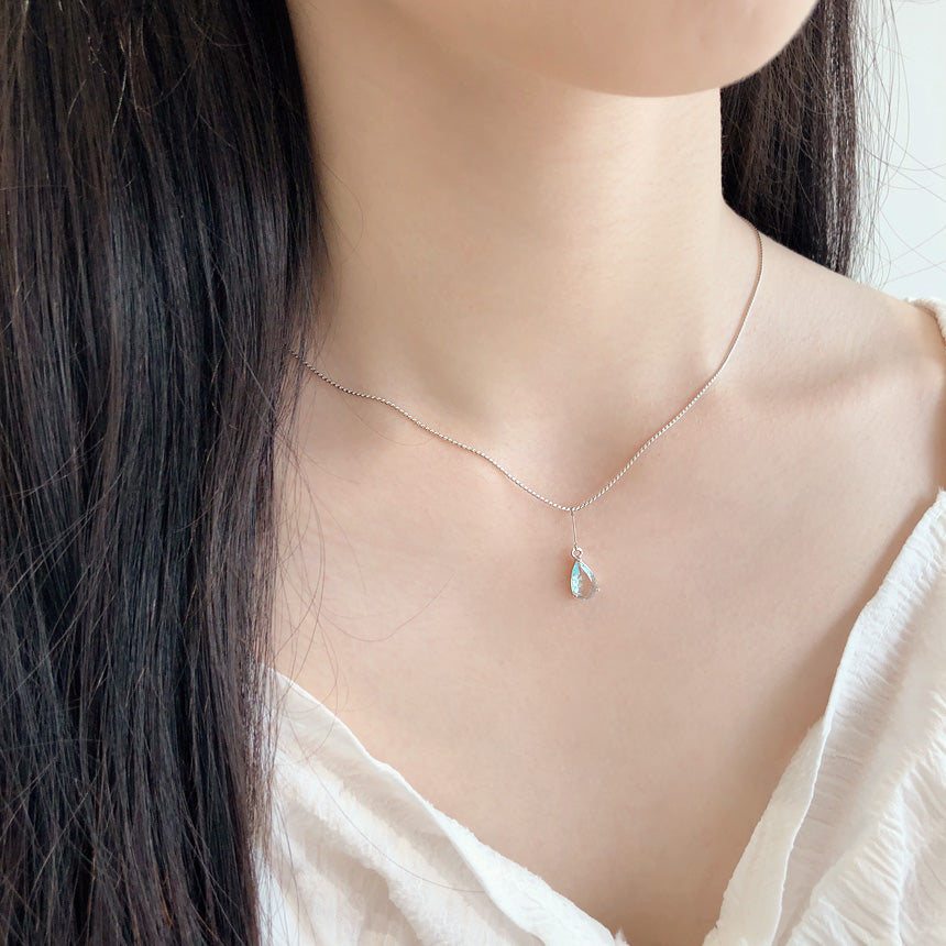 Soo & Soo Crystal Teardrop Pendant Chain Necklace