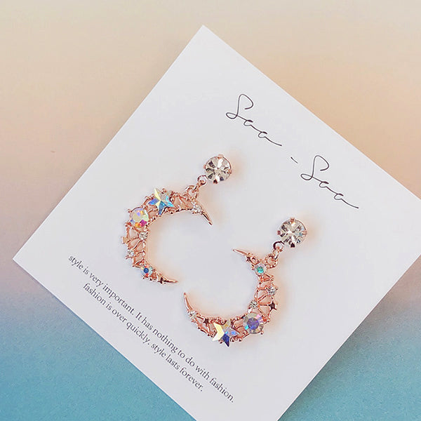 Soo & Soo Colorful Cubic Moon Drop Earrings