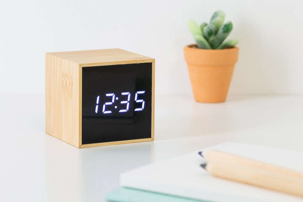 [DMV ONLY] Wood Cube LED Digital Clock 14002922