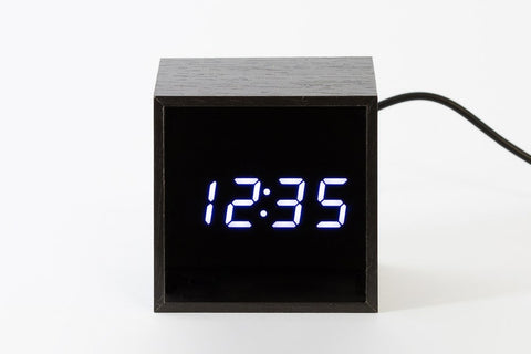 [DMV ONLY] Black Wood Cube LED Digital Clock 14002923