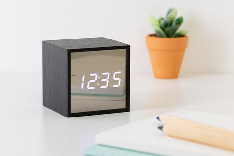 [DMV ONLY] Mirror Finish Cube LED Digital Clock 14002924