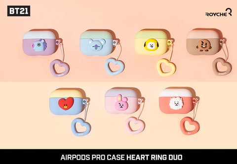 BT21 Royche Airpod  Pro Chimmy Heart Ring Duo Case