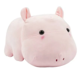 Amuse Pink Hippo Plush 13.5""