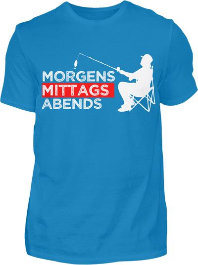Morgens Mittags Abends Angeln T-Shirt - Kreisligahelden.de
