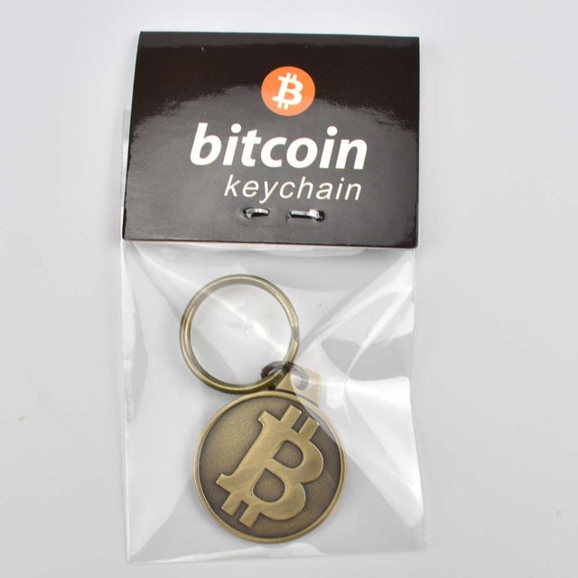 NEW Gold Plated BITCOIN KEYRING KEYCHAIN Coin Gift Pouch RAPID DELIVERY from UK