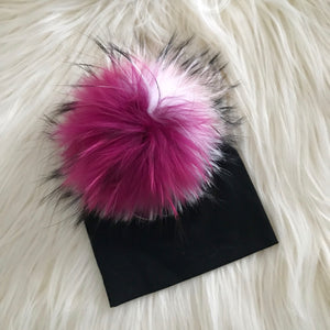 Black Hat Hot Pink/Light Pink/White Pompom - The Gifted Baby NY