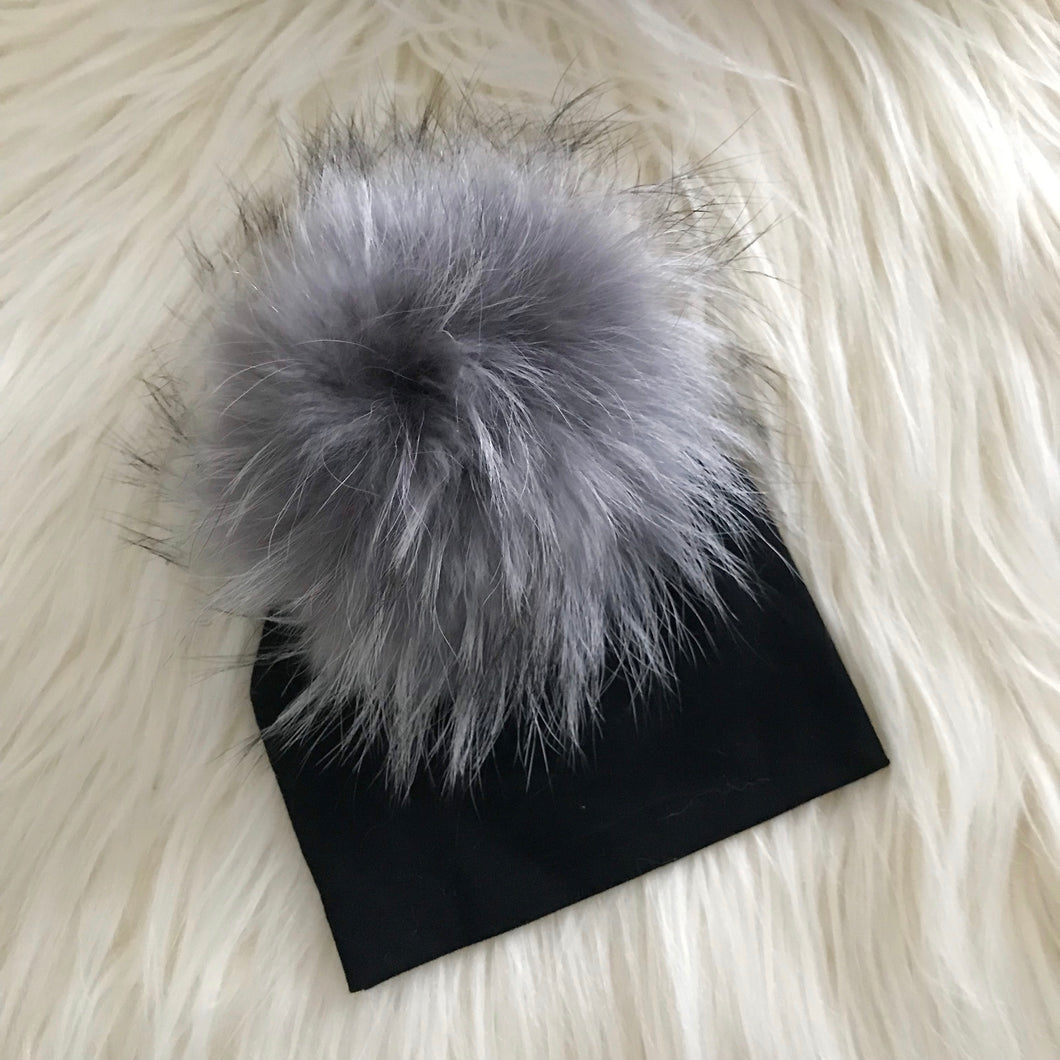 Black Hat Light Gray Pompom - The Gifted Baby NY