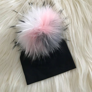 Black Hat Gray/Light Pink/White Pompom - The Gifted Baby NY