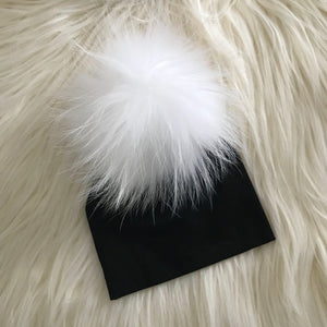 Black Hat White Pompom - The Gifted Baby NY
