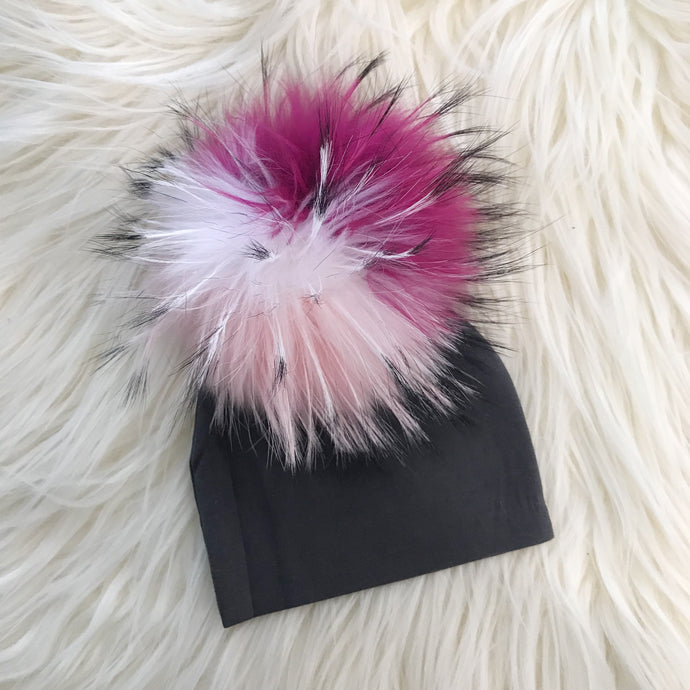 Dark Gray Hat Hot Pink/Light Pink/White Pompom - The Gifted Baby NY