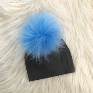 Dark Gray Hat Light Blue Pompom - The Gifted Baby NY