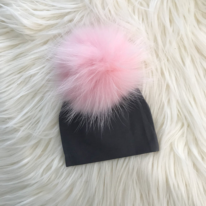 Dark Gray Hat Baby Pink Pompom - The Gifted Baby NY