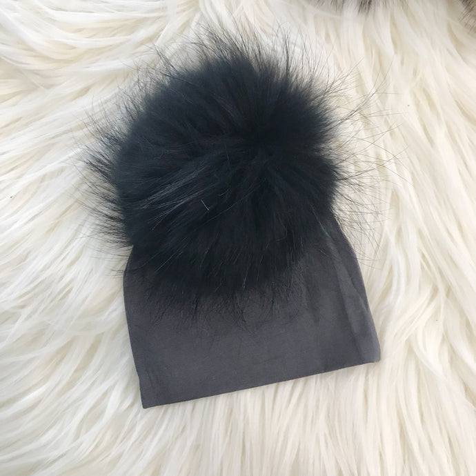 Dark Gray Hat Black Pompom - The Gifted Baby NY