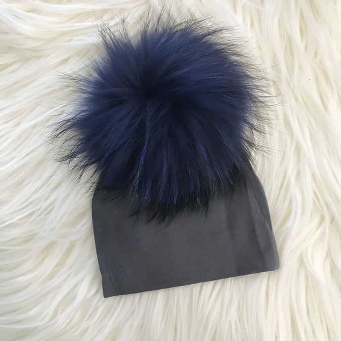 Dark Gray Hat Navy Pompom - The Gifted Baby NY
