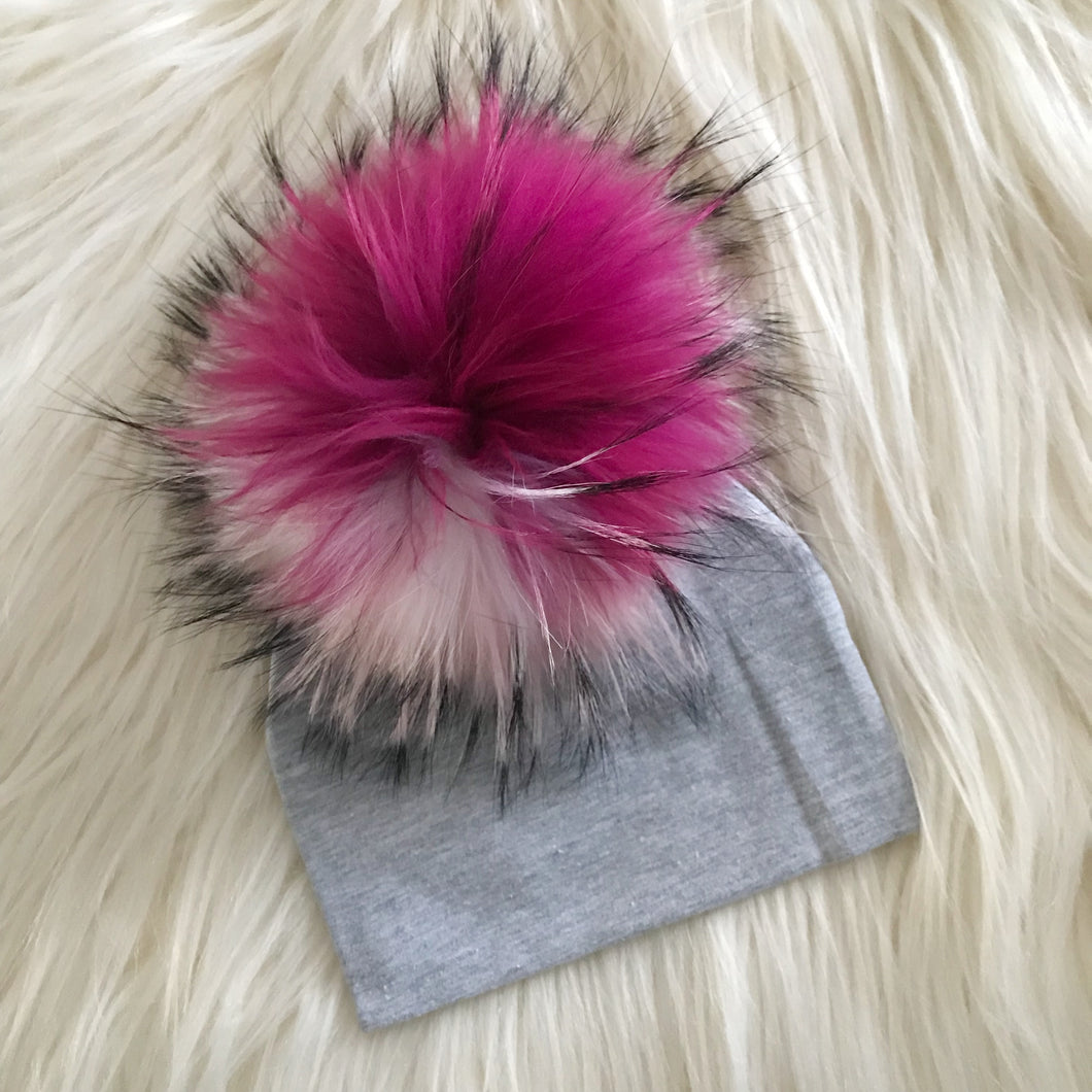 Heather Gray Hat Hot Pink/Light Pink/White Pompom - The Gifted Baby NY